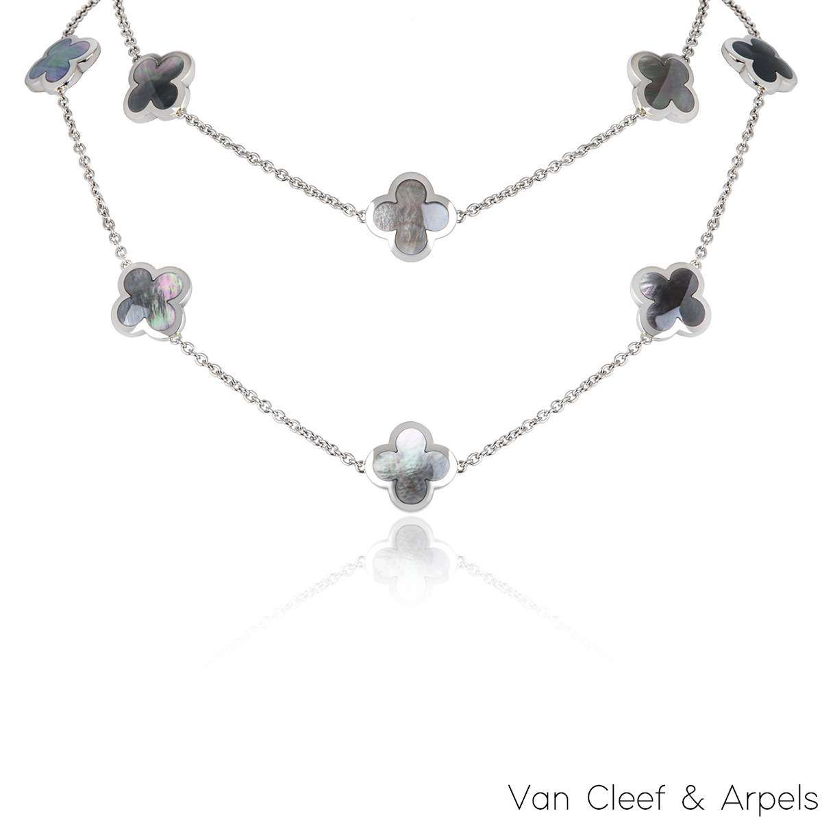 Van Cleef & Arpels White Gold Pure Alhambra Necklace